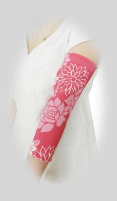 Custom PICC line covers sleeves at off-the-shelf prices. Shown in 'Dahlia' full arm style by PICC Cover Fashions tm. 80+ styles.