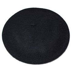 """FSLESI Solid Color French Wool Beret Hats Cap (Black). 90% Wool, 10% Nylon. Stretchable- One Size Fits Most Adults. Hat circumference: 56-58cm/22-22.83"""" ; diameter: 27.5cm/10.82"""", inside diameter about 13.5cm/5.31"""". 20 Colors for Choose--Light Weight. Perfect For Everyday Wear Or Halloween Costume; Great Military Beret Hat."""
