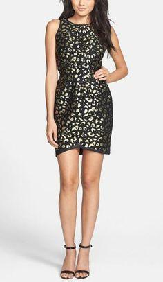Gold, Foiled Leopard Little Black Dress
