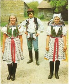 Europe | Portrait of teens wearing traditonal clothes, Czech Republic