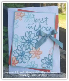 watercolor words stampin' up! simple card just for you by Erin with Hand Stamped Style