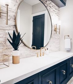 Great Bathroom Decor Ideas nailed it when they picked the perfect sconces by the Margeaux Collation. To see more of what Hinkley has to offer check them out on our website (link in bio).Read More Modern Bathroom Design Ideas Bathroom Renos, Bathroom Interior, Modern Bathroom, Washroom, Master Bathroom, Bathroom Ideas, Blue Bathroom Decor, Bohemian Bathroom, Mirror Bathroom