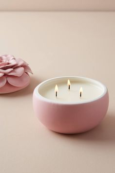 Ceramic Flower Candle by Illume in Pink, Candles at Anthropologie