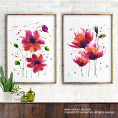 Watercolor flower poppy, Set of 2 Floral prints, Botanical art, Apartment decor, Red wall art, Fuchsia Red flower home decor, Red poppies by colorZen on Etsy