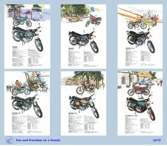 Classic Honda Motorcycle Poster heavyweight bikes reproduced from the original 1975 range brochure. £9.95, via Etsy.