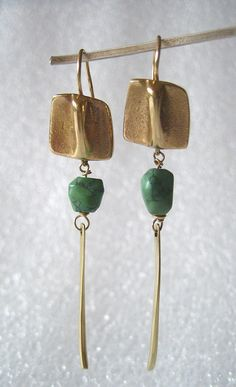 Turquoise Dangle Earrings in 14K Gold by Anna Vosburg/// like the gold but would probably make it in antique brass.
