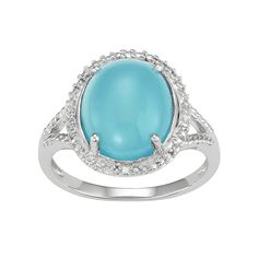 Sterling Silver Blue Chalcedony Oval Cabochon & Diamond Accent Ring, Women's, Size: 7