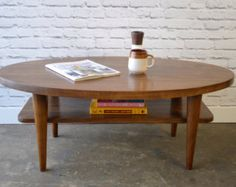 Oval Mid Century Modern Inspired Coffee Table