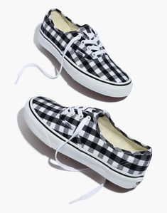 Apr 2020 - Madewell Vans Unisex Authentic Lace-Up Sneakers in Gingham Check - Size Vans Shoes Women, Dr Shoes, Ladies Shoes, Shoes Sandals, Jeans Shoes, Girls Shoes, Cute Vans, Cute Shoes, Trendy Shoes