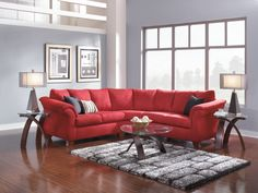 Grey walls with Adrian Red Living Room Package - Value City Furniture Red Couch Living Room, Living Room Sectional, Living Room Furniture, Living Room Decor, Living Room Color Schemes, Living Room Colors, Living Room Designs, Sala Grande, Value City Furniture