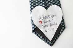 Lots o Text. Embroidered Tie Square. Groom Tie Accessory. Custom Wedding Tie Square. Message Stitched By Merriweather Council on Etsy
