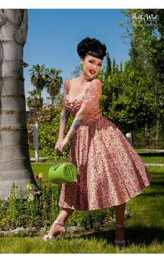 Pinup Couture- Nancy Dress in Pink Lemonade Print | Pinup Girl Clothing