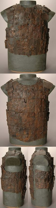 European coat of plates from a mass grave, battle of Visby, fought in July 1361 on the Swedish Baltic island of Gotland, between invading Danish troops and the local, Gutnish, forces. The Danish won a decisive victory. Due to the heat, the dead had to be disposed of quickly, and many were buried in their armour. The archaeological excavation of one of the mass graves, in the 1930s, revealed over 1000 skeletons. Visby #22.