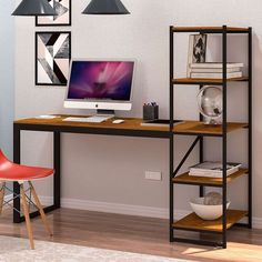 Industrial Home Offices, Small Home Offices, Industrial Design Furniture, Furniture Design, Industrial Office Desk, Home Room Design, Home Office Design, Iron Furniture, Home Decor Furniture