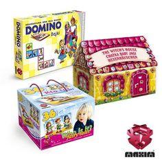 Zestaw 3 gier edukacyjnych z motywem bajek.W skład zestawu wchodzi:- DOMINO Bajki- DOMEK 3D Chatka Baby Jagi- KTO TO? BajkiW ZESTAWIE MAXIM TANIEJ!