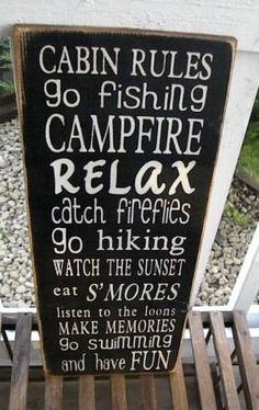 Cabin or Lake  Rules Sign Typography  subway sign by Wildoaks... Need one for my house as I forget to stop to do these!