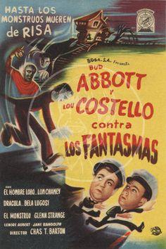 Abbot y Costello contra Los Fantasmas - 10x15 Giclée Canvas Print of Vintage Spanish Movie Flyer
