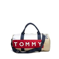 """Tommy Hilfiger men's bag. nbsp;Light, roomy, and durable enough to take anything you throw at it (or in it). Our gym bag is built to last in cotton canvas and lined in nylon to keep your gear dry. br/• 100% canvas, metal hardware. br/• 22"""" L x 11"""" W x 13"""" H. br/• Adjustable shoulder strap. br/• Exterior zip pocket and velcro pouch, interior zip pocket. br/• Machine washable.br/• Imported.br/• Ground Shipping Only.br/• Not eligible for ShopRunner Free 2-Day Shipping. br/br/br/"""
