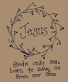 Jesus Stitchery E Pattern Primitive Embroidery, Primitive Stitchery, Primitive Patterns, Primitive Crafts, Vintage Embroidery, Embroidery Applique, Cross Stitch Embroidery, Hand Embroidery Designs, Embroidery Patterns