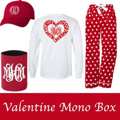 Oh my what a DEAL!!!  Our Sassy Mono Box comes with all the items shown!  That's the monogrammed Valentine tee, monogrammed ball cap, monogrammed koozie, and our most popular red hot spot lounge pants!  Available only while supplies last!    SHIPS IN APPROX 1 WEEK