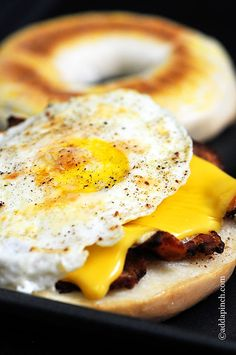 Bacon, Egg, and Cheese Bagel Breakfast Sandwich
