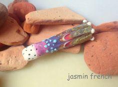jasmin french ' glass tassel ' lampwork focal bead glass art