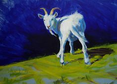 'Strike A Pose - Amusing Acrylic Goat Painting' Greeting Card by MikeJory Goat Paintings, Bob Ross Paintings, Animal Paintings, Painting Prints, Fine Art Prints, Goat Art, Sale Poster, Strike A Pose, Pet Portraits