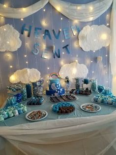 Heaven sent baby shower for a rainbow baby❤️                                                                                                                                                     More