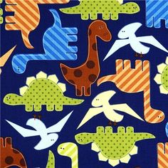 blue fabric with colourful dinosaurs Robert Kaufman