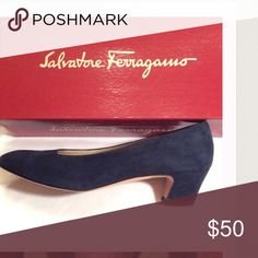 NAVY BLUE Suede Vintage 90s Pumps Block Heel Vintage 90s navy heels from  the original Neiman Marcus in Dallas, Texas.  Always worn with additional protective insoles so the insoles are in great condition.  A few other pairs of vintage Ferragamo's available.  Please feel free to ask questions or make an offer. Salvatore Ferragamo Shoes Heels