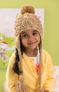 Cabled Toddler Hat Free Knitting Pattern from Red Heart Yarns