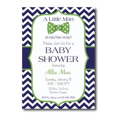 Blue and Green Little Man Baby Shower Invitation