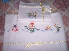 Embroidery, Vintage, Home Decor, Baby Sheets, Monogram, Embroidered Towels, Baby Layette, Baby Things, Diapers