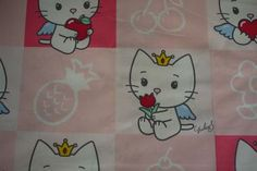 Hello Kitty Pink Squares Fabric