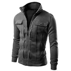Men's Casual/Sports Thick Jacket, White Black Gray Brown – USD $ 19.99