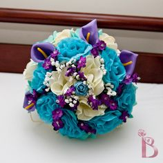 Bridal round wedding bouquet in ivory, purple, aqua teal (tiffany blue) and turquoise with purple callas and pearls via Etsy; I love this color combination. Purple Wedding, Trendy Wedding, Perfect Wedding, Wedding Colors, Our Wedding, Dream Wedding, Wedding Stuff, Wedding Bouquets, Wedding Flowers