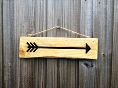 Reclaimed Pallet Wood Rustic Stained Arrow Hanging Sign
