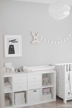 Baby nursery grey, ikea baby room, baby room storage, grey white nursery, r