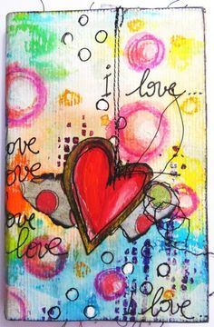 www.couleursetmixedmedia.com - Art Journal I love etc. ♥♥ this...