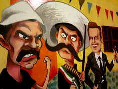 """El Trío"" (fragmento) mural realizado en bar ""La Vecindad"" de Honduras y Thames Honduras, Joker, Bar, Fictional Characters, Hipster Stuff, The Joker, Fantasy Characters, Jokers, Comedians"