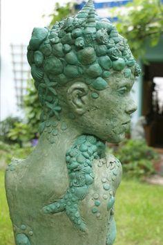 """Skulptur """"Meerjungfrau"""" Garten,Büste von Mandagora auf DaWanda.com"""