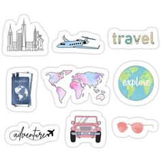 Buy 'Travel Pack' by sifasunny as a Sticker, Transparent Sticker, or Glossy Sticker Tumblr Stickers, Cool Stickers, Printable Stickers, Laptop Stickers, Journal Stickers, Scrapbook Stickers, Planner Stickers, Homemade Stickers, Snapchat Stickers