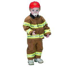 Aeromax Tan Firefighter Dress Up Halloween Costume Infant Boys 18M, Infant Girl's, Brown