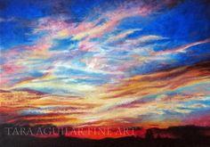 Oil Painting Art Print Sunset Art Montana by TaraAguilarFineArt