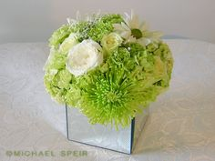 DIY Mirror Box Planter Centerpiece :  wedding bouquet box carnations centerpiece ceremony diy flowers green inspiration ivory low mirror mod...