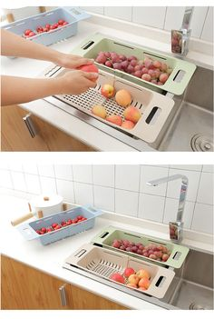 Retractable Drain Basket Creative Multifunction Kitchen Organizer Fruit Vegetable Racks Holder Home Kitchen Storage Organization – Top Daily Trends