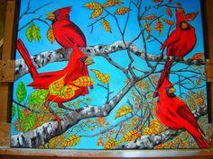 D.OBERLING/ORIGINAL/CARDINAL/BIRDS/AUTUMN/ABSTRACT/ART/OIL/PAINTING/30X24 #Realism