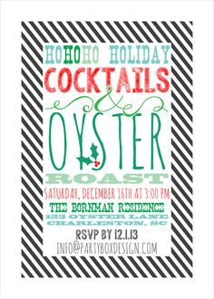 holiday party invites, oyster roast invites, holiday oyster roast invites via party box design