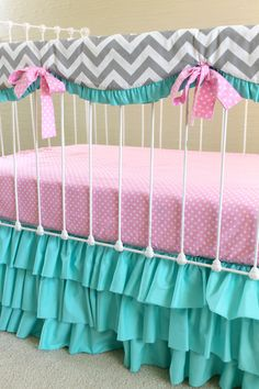 Candy Chevron Custom Crib Bedding Extras