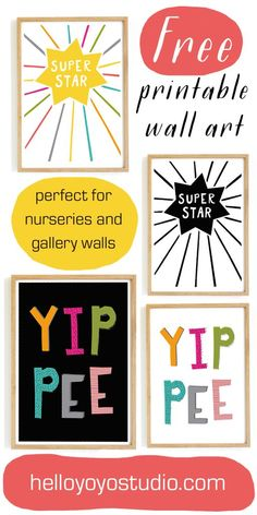 Free Printable Wall Art, printables for nurseries and gallery walls. Instant download prints. Free typography quotes and children's art.
